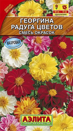 Георгина махровая Радуга цветов, смесь сортов --- Одн